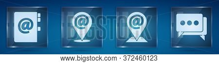 Set Address Book, Location And Mail And E-mail, Location And Mail And E-mail And Speech Bubble Chat.