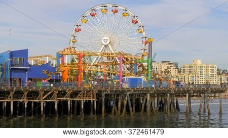 Famous Santa Monica Pier In Los Angeles - Los Angeles, United States - March 29, 2019