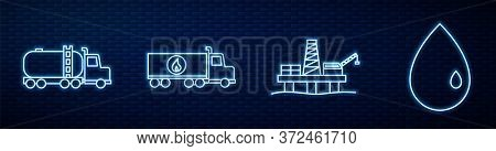 Set Line Oil Platform In The Sea, Tanker Truck, Tanker Truck, Oil Drop And Canister For Motor Machin