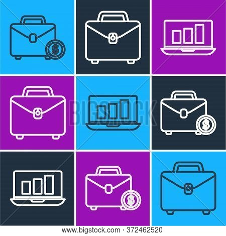 Set Line Briefcase And Money, Laptop With Graph Chart And Briefcase Icon. Vector