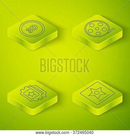 Set Isometric Film Reel, Cinema Ticket, Hollywood Walk Of Fame Star And 3d Word Icon. Vector