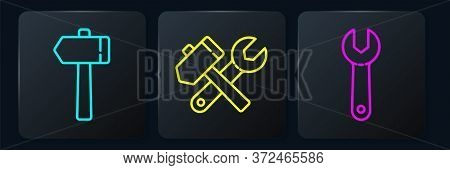 Set Line Hammer, Wrench Spanner And Hammer And Wrench Spanner. Black Square Button. Vector