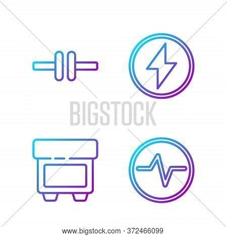 Set Line Electric Circuit Scheme, Fuse, Electric Circuit Scheme And Lightning Bolt. Gradient Color I