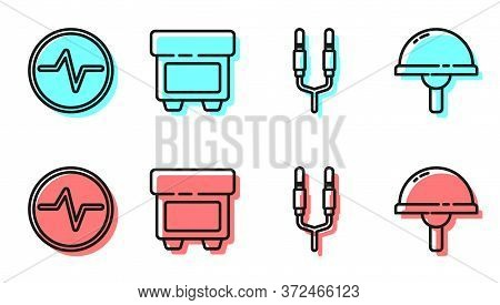 Set Line Audio Jack, Electric Circuit Scheme, Fuse And Light Emitting Diode Icon. Vector