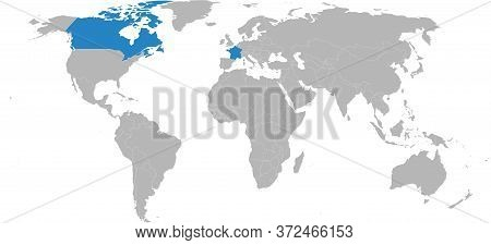 Canada, France Countries Isolated On World Map. Light Gray Background. Business Concepts, Trade, Tou