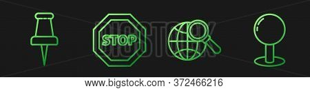 Set Line Magnifying Glass With Globe, Push Pin, Stop Sign And Push Pin. Gradient Color Icons. Vector