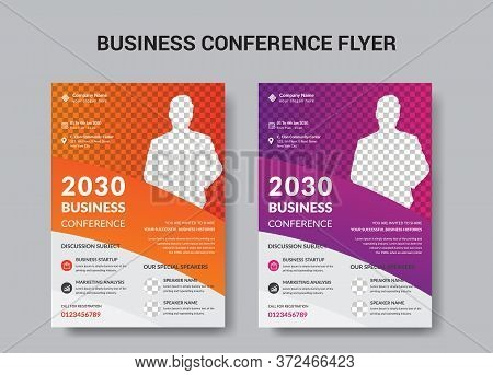 Corporate Business Conference Flyer Brochure Template Design, Abstract Business Flyer, Vector Templa