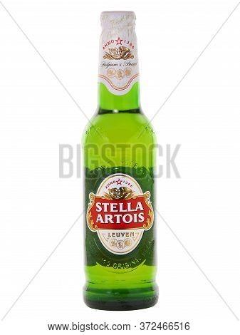 Bucharest, Romania - January 16, 2015. Stella Artois Glass Bottle Beer Isolated On White. Stella Art