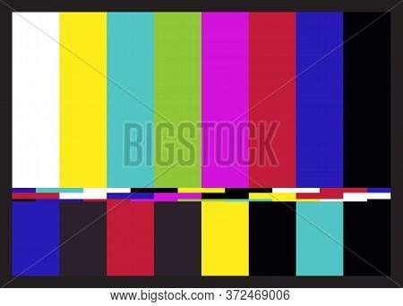Television Retro Test Pattern Of Colored Stripes. Interference On Tv. Vector