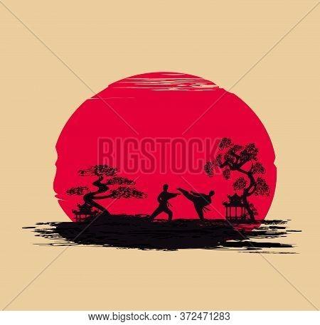 Karate Occupations Landscape Abstraction Card , Vector Illustration