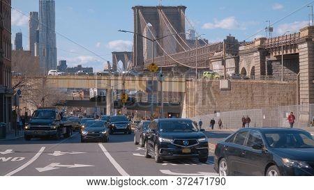 Brooklyn Street View With Brooklyn Bridge New York - New York City, United States - April 2, 2017