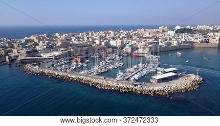 Acre Israel: Aerial Footage Of The Old City And Port Of Acre, Israel.