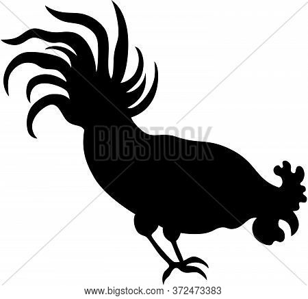 Illustration Of A Rooster Silhouette, Isolated. Vector Illustration