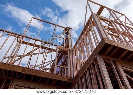 Residential Construction Home Framing Under Construction Wooden Truss, Post Beam Framework Frame Hou