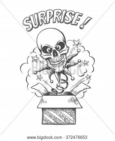 A Skull On A Spring Jumps Out Of Box. Isolated On A White Background. Unexpected Surprise. Vector Il
