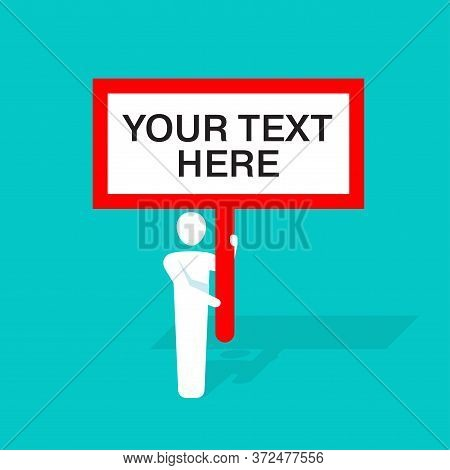 Attention Banner Concept - Vector Illustration Of Important Announcement. Flat Human Silhouette Hold