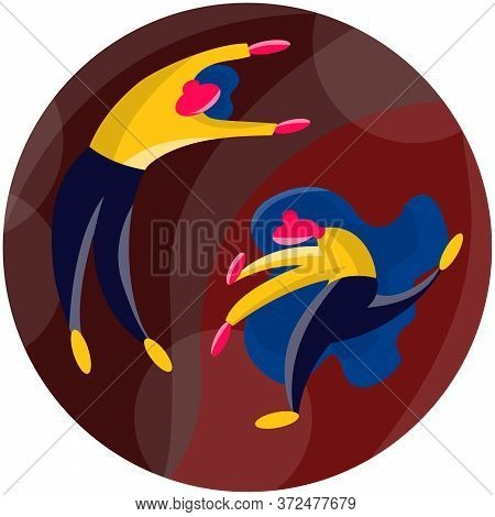 Stock Vector Illustration Of Man And Woman In Yin Yang Symbol. Decorative Graphic Design Element In