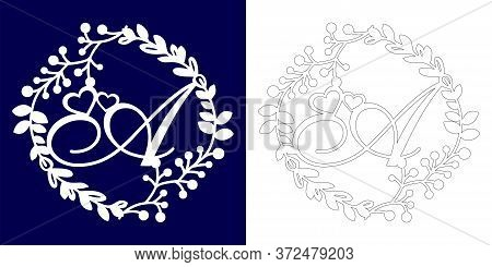 Vector Wedding Initial Monogram For Laser Cutting. Letter A Of The Decorative Monogram In A Floral F