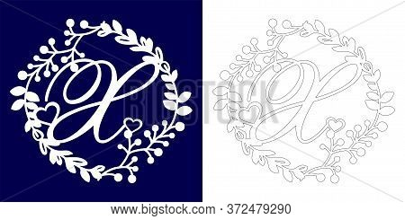 Vector Wedding Initial Monogram For Laser Cutting. Letter X Of The Decorative Monogram In A Floral F