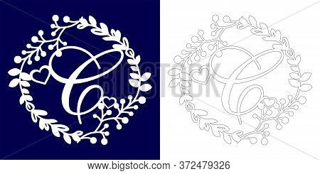 Vector Wedding Initial Monogram For Laser Cutting. Letter C Of The Decorative Monogram In A Floral F