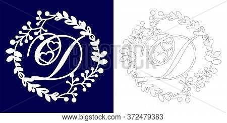 Vector Wedding Initial Monogram For Laser Cutting. Letter D Of The Decorative Monogram In A Floral F
