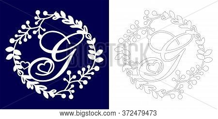 Vector Wedding Initial Monogram For Laser Cutting. Letter G Of The Decorative Monogram In A Floral F