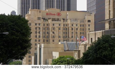 Hilton Hotel Building In Downtown Los Angeles - Los Angeles, Usa - March 18, 2019