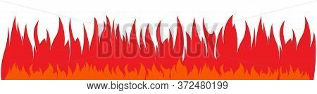 Wide And Low Vector Fires Background. Continuous, Non-stop Red Flame. Blazing Banner.