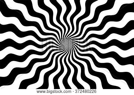 Black And White Hypnotic Spiral Wave Rays Background. Psychedelic Sunburst Retro Design.