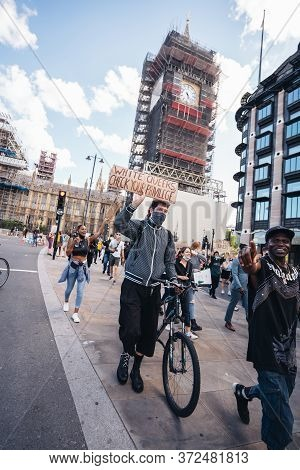 London / Uk - 06/20/2020: Huge Crowd Of Black Lives Matters Protesters Heading To Parliament Square,