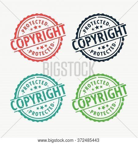 Copyright Badge Rubber Stamp Set In Different Colors Vector Design Illustration