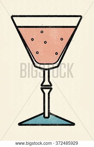 Classic Cocktail In A Crystal Glass. Old School Print Halftone Dotted Offset Press Dirty Gritty Comi