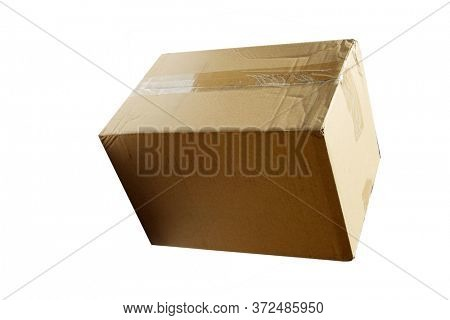 Cardboard Box. Closed Cardboard Box Isolated on White. Room for text. Clipping Path.