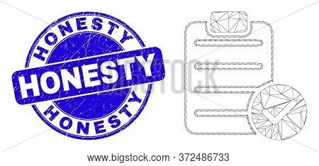 Web Carcass Accept Pad Text Pictogram And Honesty Seal. Blue Vector Rounded Textured Seal With Hones