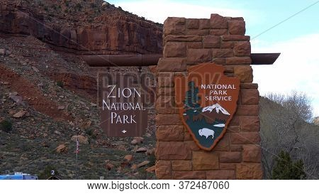 Zion Canyon National Park In Utah- Utah, United States - March 20, 2019