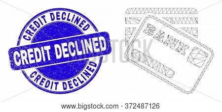 Web Mesh Bank Cards Pictogram And Credit Declined Seal Stamp. Blue Vector Round Textured Seal Stamp