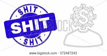 Web Mesh Banker Gear Person Pictogram And Shit Watermark. Blue Vector Round Textured Seal With Shit