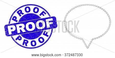 Web Carcass Banner Balloon Icon And Proof Seal Stamp. Blue Vector Round Scratched Stamp With Proof C
