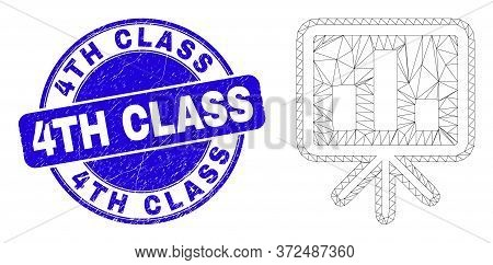 Web Mesh Bar Chart Presentation Pictogram And 4th Class Seal Stamp. Blue Vector Round Grunge Seal St