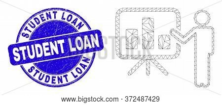 Web Carcass Bar Chart Public Report Pictogram And Student Loan Stamp. Blue Vector Round Scratched Se