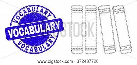 Web Carcass Books Icon And Vocabulary Watermark. Blue Vector Rounded Grunge Watermark With Vocabular