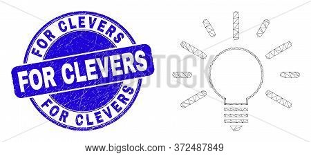 Web Mesh Bulb Light Pictogram And For Clevers Watermark. Blue Vector Round Scratched Watermark With