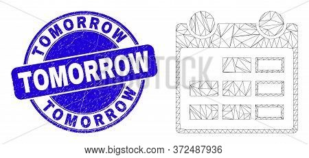 Web Carcass Calendar Page Pictogram And Tomorrow Seal Stamp. Blue Vector Rounded Scratched Seal With
