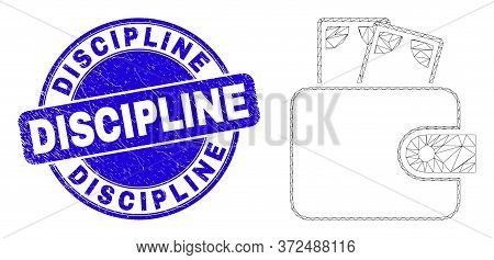 Web Mesh Cash Purse Pictogram And Discipline Watermark. Blue Vector Rounded Textured Stamp With Disc