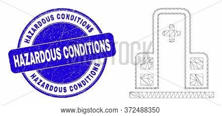 Web Mesh Clinic Building Pictogram And Hazardous Conditions Seal. Blue Vector Rounded Distress Seal