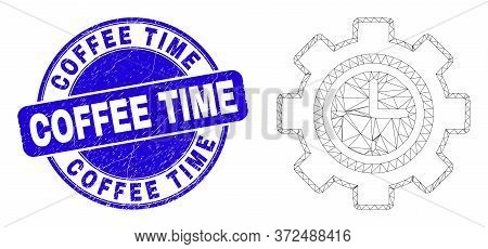 Web Mesh Clock Setup Wheel Pictogram And Coffee Time Seal. Blue Vector Rounded Scratched Seal With C