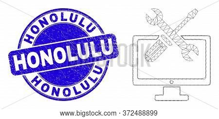 Web Mesh Desktop Options Pictogram And Honolulu Seal. Blue Vector Rounded Textured Seal Stamp With H