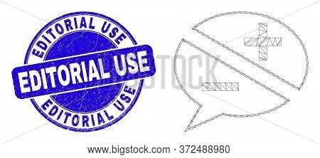Web Carcass Discussion Messages Pictogram And Editorial Use Watermark. Blue Vector Round Textured Wa