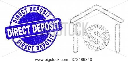 Web Mesh Dollar Garage Bank Pictogram And Direct Deposit Seal Stamp. Blue Vector Rounded Distress Se