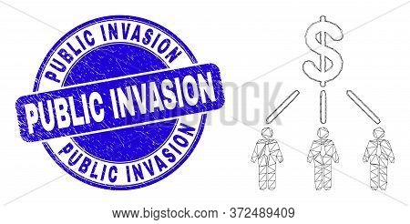 Web Mesh Dollar Managers Links Pictogram And Public Invasion Stamp. Blue Vector Rounded Distress Sea